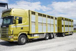 φορτηγό όχημα μεταφοράς ζώων SCANIA R164 V8 , 6x2 , 2 hydraulic decks , 70m2 , live stock + ρυμουλκούμενο όχημα μεταφοράς ζώων